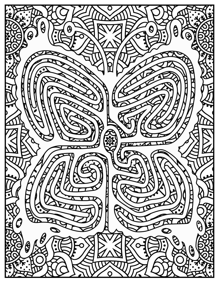 A butterfly labyrinth coloring page