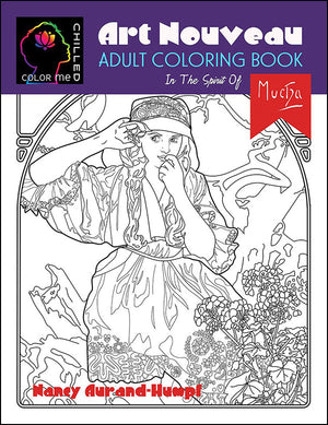 An Art Nouveau Coloring Book by Color Me Chilled available on Amazon.com