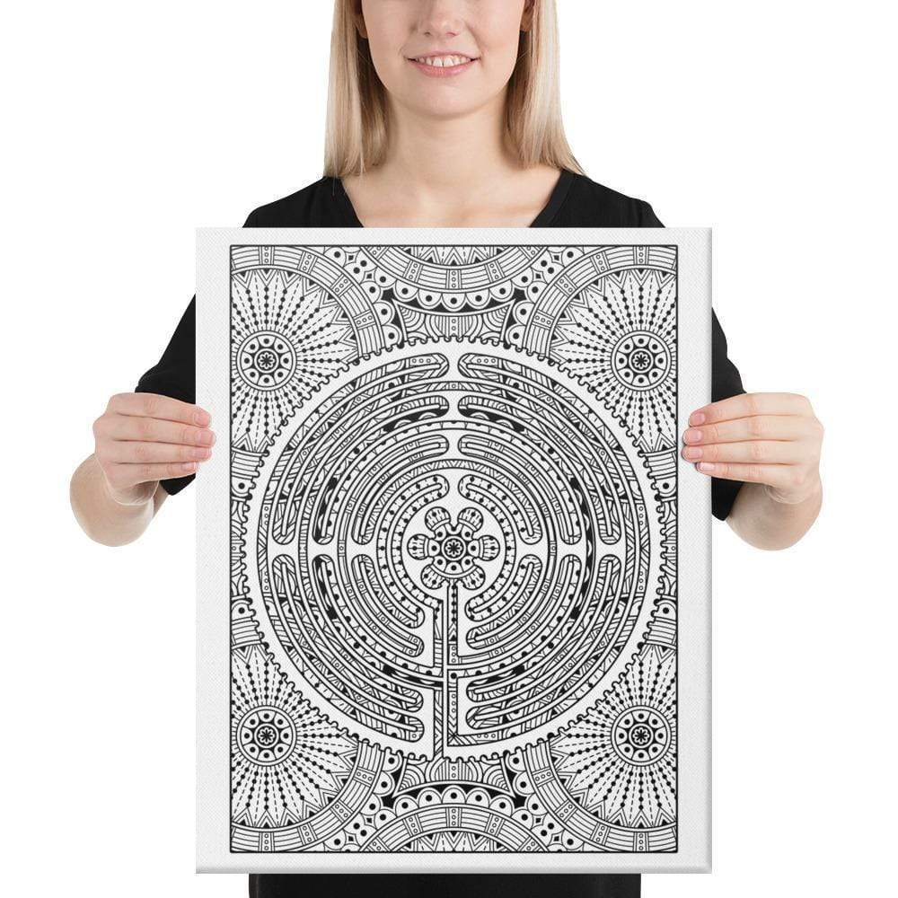 Color Me Chilled Canvas Prints 18×24 Chartres Daisy Mandala Labyrinth