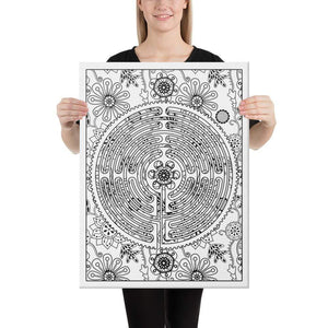 Color Me Chilled Canvas Prints 18×24 Chartres Floral Labyrinth