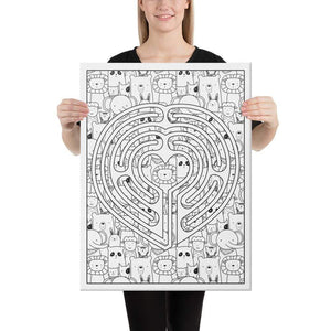 Color Me Chilled Canvas Prints 18×24 Heart Animal Labyrinth