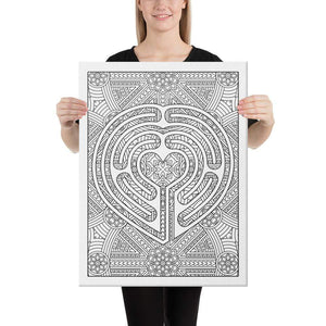 Color Me Chilled Canvas Prints 18×24 Heart Mandala Labyrinth