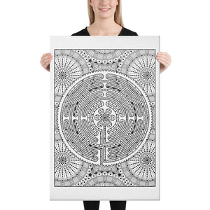 Color Me Chilled Canvas Prints 24×36 Chartres Daisy Mandala Labyrinth