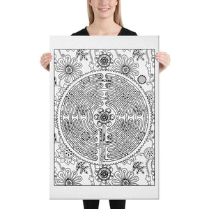 Color Me Chilled Canvas Prints 24×36 Chartres Floral Labyrinth