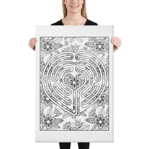 Color Me Chilled Canvas Prints 24×36 Heart Floral Labyrinth