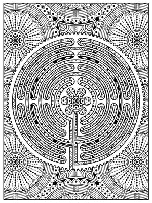 Color Me Chilled Canvas Prints Chartres Daisy Mandala Labyrinth