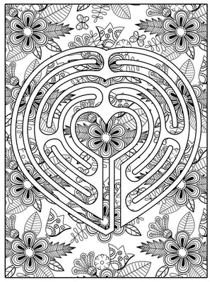Color Me Chilled Canvas Prints Heart Floral Labyrinth