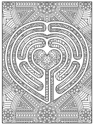 Color Me Chilled Canvas Prints Heart Mandala Labyrinth