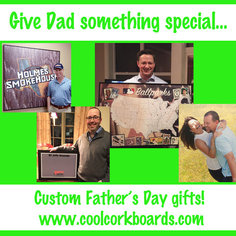 custom printed cool corks bulletin boards for father's day gift giving