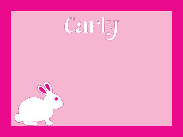 custom Cool Corks bunny rabbit on pink cork board with free personalization