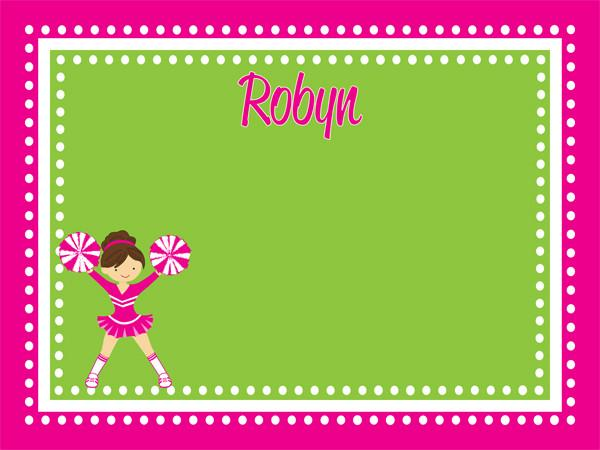 custom printed cork bulletin board with a cute cheerleader graphic in hot pink and lime green with free personalization.