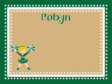 custom printed cork bulletin board with a cute cheerleader graphic in green and gold with free personalization.
