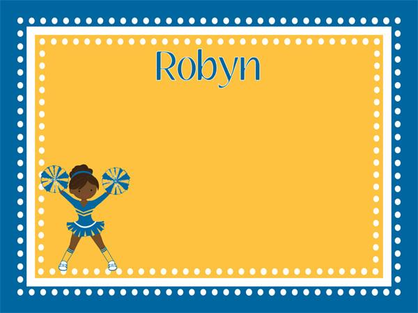 custom printed cork bulletin board with a cute cheerleader graphic in blue and yellow with free personalization.