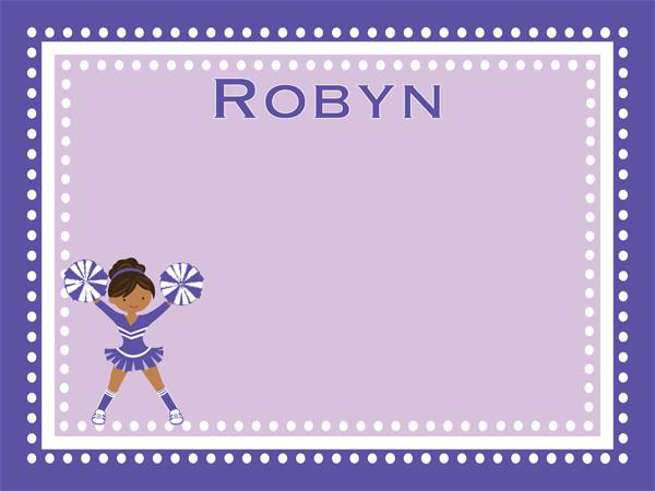 custom printed cork bulletin board with a cute cheerleader graphic in purple and lavender with free personalization.