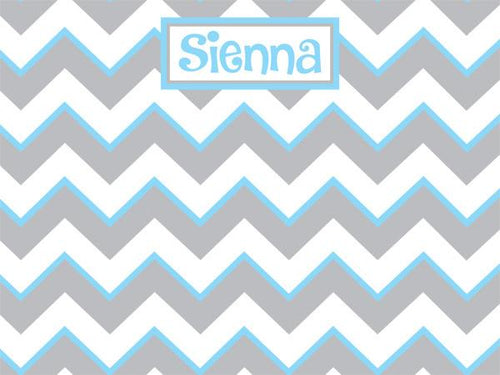 Chevron Pattern with Gray Cork Board coolcorks 24 x 18 adhesive back - $80 Grey and Light Blue