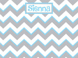 Gray and Light Blue Chevron Pattern Cork Board with free personalization and free shipping