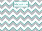 Gray and Seafoam Chevron Pattern Cork Board with free personalization and free shipping