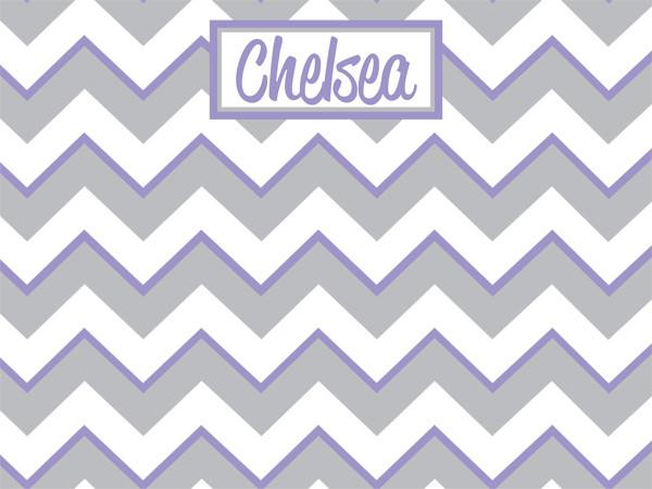 Gray and Lavender Chevron Pattern Cork Board with free personalization and free shipping
