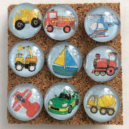 Little Vehicles glass marbled push pins coolcorks