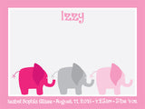 Custom Adorable Cork Board for a Nursery - Personalized Bulletin Board with Elephants Design in Pink
