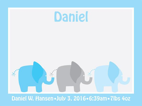 Custom Adorable Cork Board for a Nursery - Personalized Bulletin Board with Elephants Design in Baby Blue