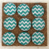 Teal Chevron Push Pins