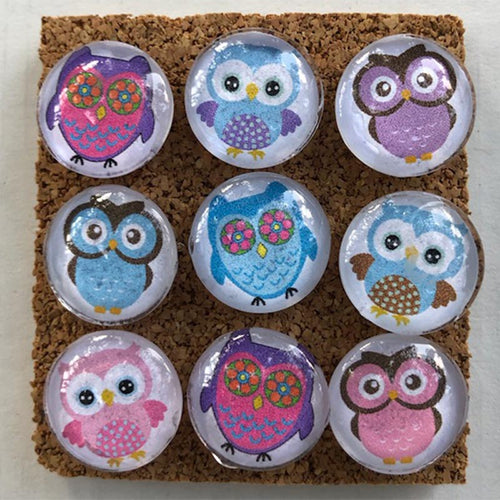 Little Owls glass marble push pins cool corks