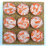 Orange Paisley Push Pins