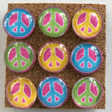 Peace Sign glass marble push pins coolcorks