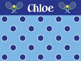 Tennis Polka Dots Cork Board coolcorks 12 x 12 adhesive back - $45 Navy/Lt Blue