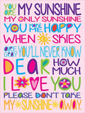 Your Are My Sunshine Cork Board coolcorks 24 x 18 adhesive back - $80 Pink