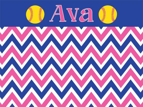 Softball Chevron coolcorks 12 x 12 adhesive back - $45 Blue/Pink