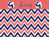 Volleyball Chevron Cork Board coolcorks 12 x 12 adhesive back - $45 Coral/Navy