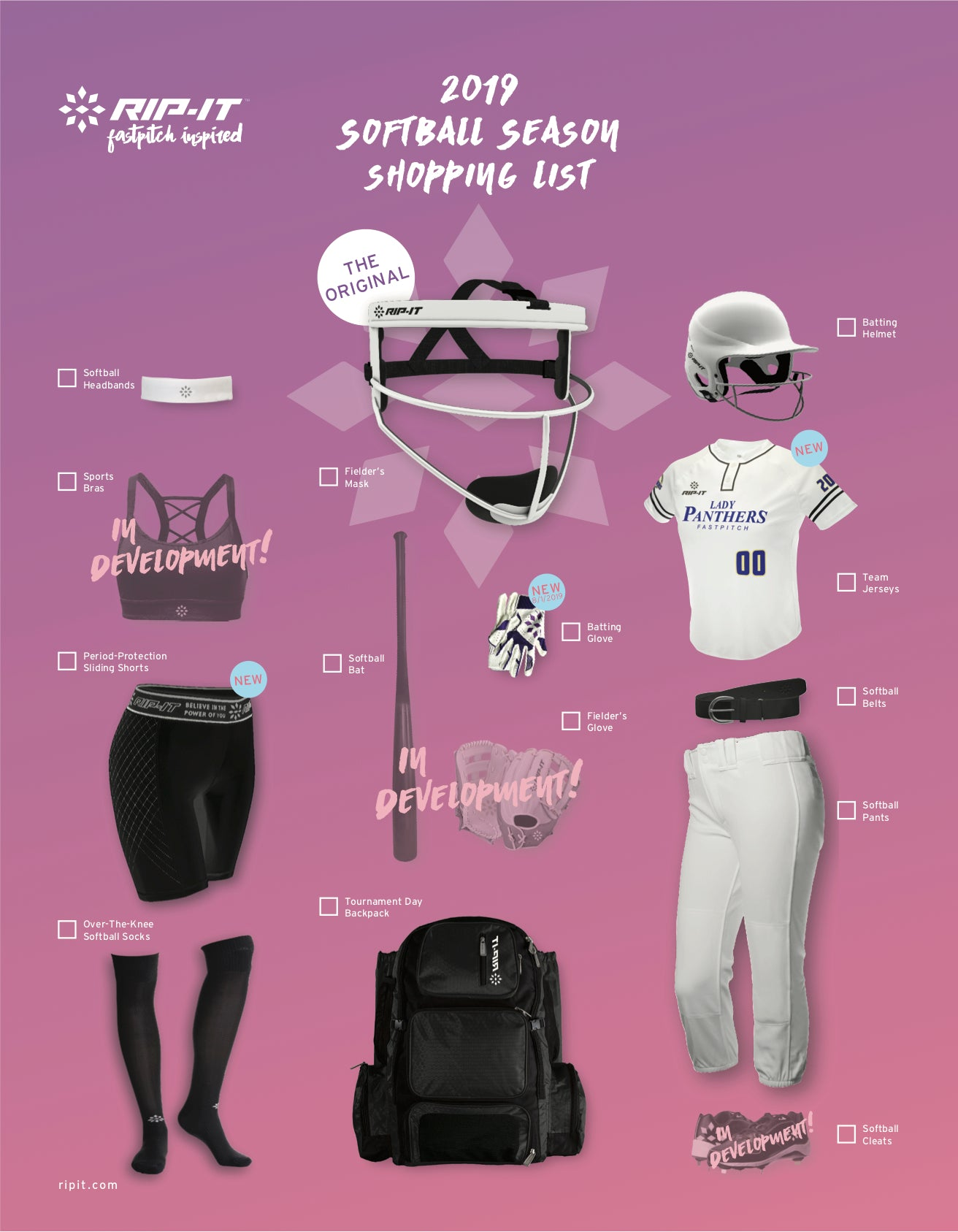 2019 RIP-IT Softball Shopping List