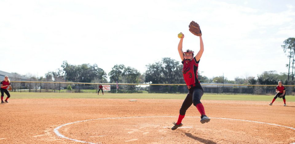 Softball pitcher winding for a pitch