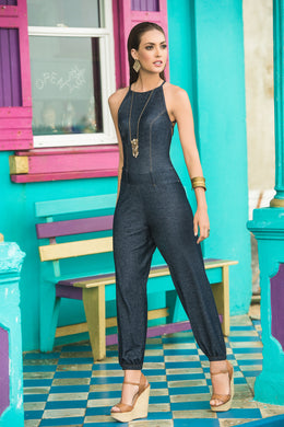 Jump Suit, Faux Denim Printed Fabric, Strappy Back, Side Slits, Elastssic Waist