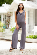 Jump Suit with Hood, Open Tie Sides, Slit Leg, Lighweighted Grey Fabric