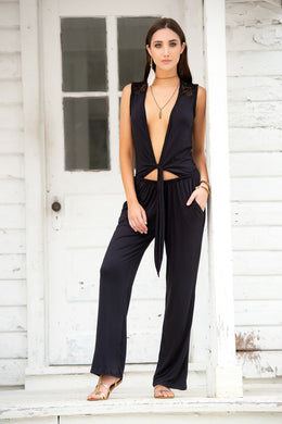 ON SALE !!!  Jump Suit, Open Tie Front, Sleeveless, Slash Pockets, Streight Cut Pants, Black