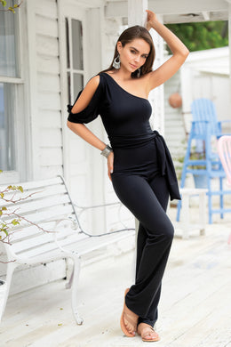 SALE !!! Jump Suit, One Shoulder, Open Sleeve, Black, LIMITED SIZES