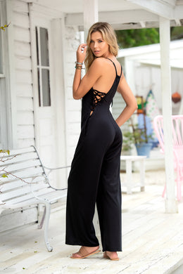 SALE !!!  Jump Suit, Adjustable Straps, Lace Up Strappy Sides, Wide Leg Pants, Black LIMITED SIZES