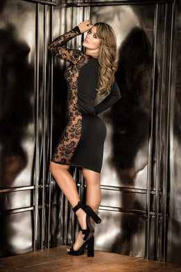 Dress, Fitted Black with Mesh Insert, Long Sleeve,  Above Knee Length - Morada Fashions