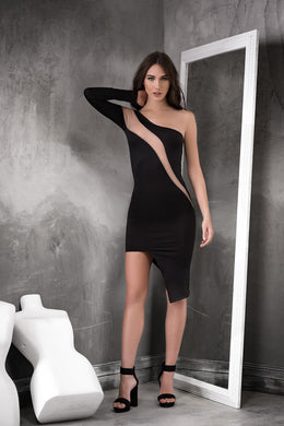 Dress, Asymetic Style, One Shoulder, One Long Sleeve, Hott!!Black/Nude - Morada Fashions