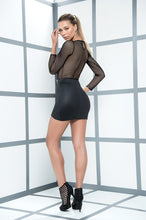 Dress, Revealing Black Mini Dress. Netting Long Sleeves, Wet Look Mini Skirt - Morada Fashions