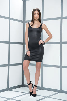Dress, Simple Figure Skimming Black Wet Look Dress, Scoop Neck, Low Back - Morada Fashions