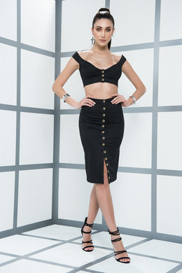 Dress, Trend Alert, Black Top & Skirt Ensemble, Crop Top, High Waisted Midi Skirt - Morada Fashions