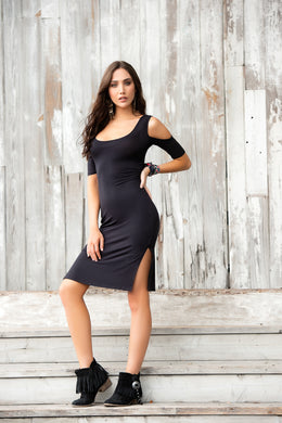 SALE  !!  Black Dress, Cold Sholder Fitted, LIMITED SIZES