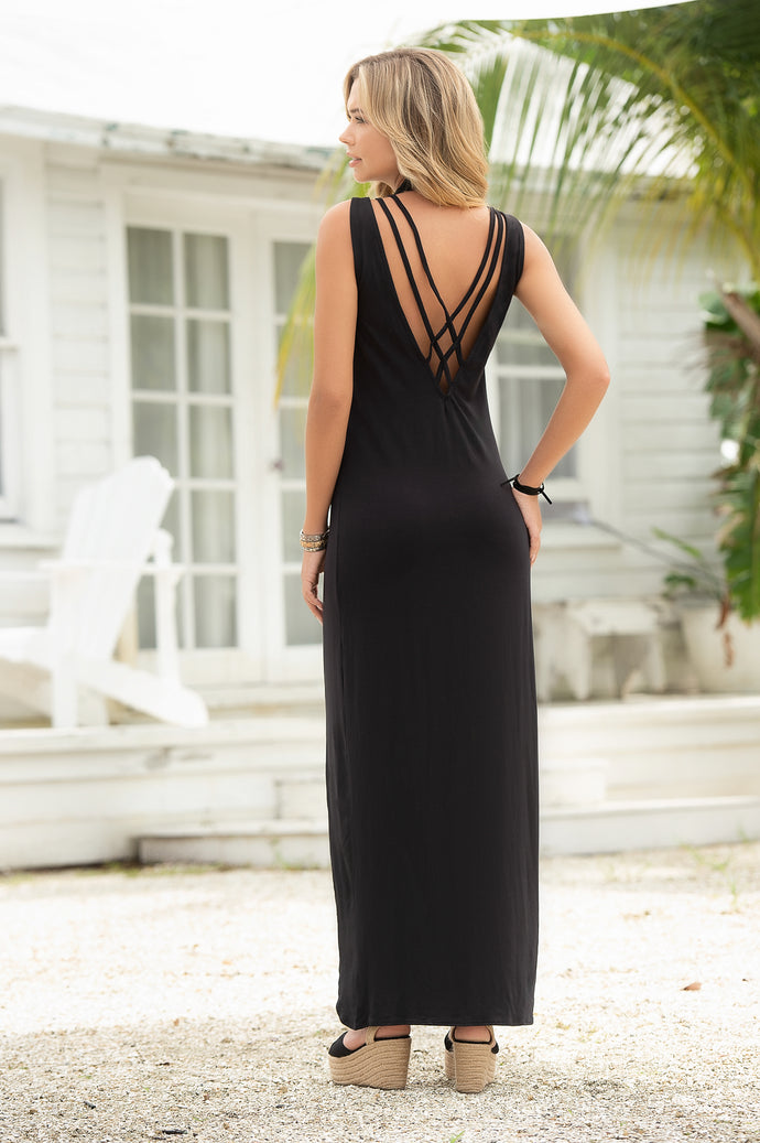 Black Long Dress, Strappy