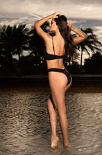 Swim Wear, Two Piece Black, Under Wire, Adjustable Straps, High Leg Bottom