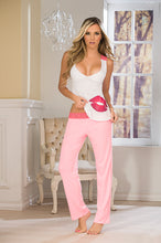 Top and Pants Set, Two Piece, White/Pink - Morada Fashions