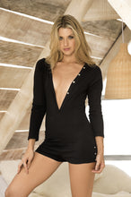 Lounge Wear, Long Sleeve Ribbed Romper, Plunging Neckline, Black - Morada Fashions